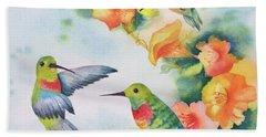 Hummingbirds With Orange Flowers Beach Towel