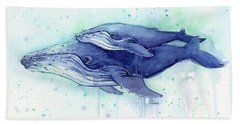 Humpback Whale Mom And Baby Watercolor Beach Sheet by Olga Shvartsur