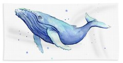 Humpback Whale Watercolor Beach Towel by Olga Shvartsur