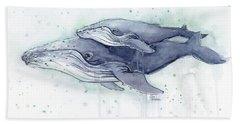 Humpback Whales Painting Watercolor - Grayish Version Beach Towel