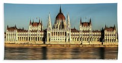 Beach Towel featuring the painting Hungarian National Parliament by Odon Czintos