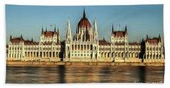 Hungarian National Parliament Beach Sheet by Odon Czintos