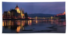 Beach Towel featuring the painting Hungarian Parliament By Night by Odon Czintos
