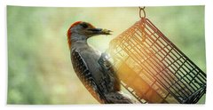 Beach Towel featuring the photograph Hungry Woodpecker by Melissa Messick