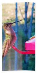 Beach Towel featuring the photograph Hungry Hummer by Jeanette Oberholtzer