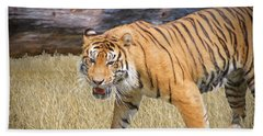 Beach Towel featuring the painting Hungry Tiger by Judy Kay