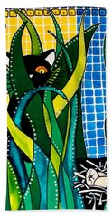 Hunter In Camouflage - Cat Art By Dora Hathazi Mendes Beach Towel