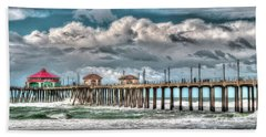 Beach Towel featuring the photograph Huntington Beach Winter 2017 by Jim Carrell