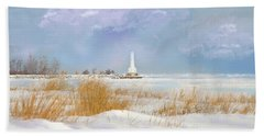 Beach Towel featuring the photograph Huron Lighthouse by Mary Timman