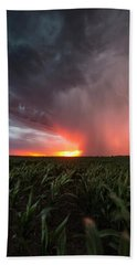 Beach Sheet featuring the photograph Huron Lightning  by Aaron J Groen