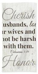Husbands Love Honor Cherish- Art By Linda Woods Beach Towel