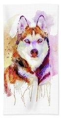 Husky Dog Watercolor Portrait Beach Towel