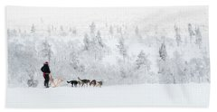 Beach Towel featuring the photograph Husky Safari by Delphimages Photo Creations