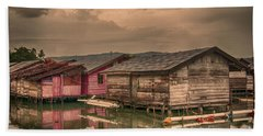 Beach Towel featuring the photograph Huts In South Sulawesi by Charuhas Images
