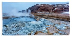 Hverir Steam Vents In Iceland Beach Sheet by Joe Belanger