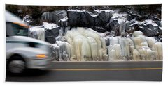 Beach Towel featuring the photograph Hwy Ice   by Doug Gibbons