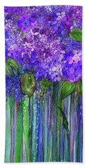 Beach Towel featuring the mixed media Hydrangea Bloomies 2 - Purple by Carol Cavalaris