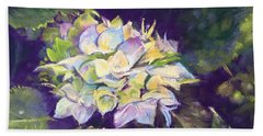 Beach Sheet featuring the pastel Hydrangea by Rebecca Matthews