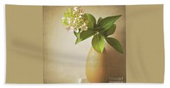 Hydrangea With Leaves Beach Towel