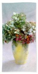 Hydrangeas In Autumn Still Life Beach Towel by Louise Kumpf