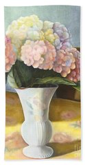 Beach Sheet featuring the painting Hydrangeas by Marlene Book