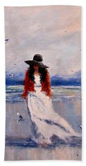 Beach Sheet featuring the painting I Am Just A Dreamer.. by Cristina Mihailescu