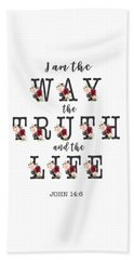 Beach Sheet featuring the painting I Am The Way The Truth And The Life Typography by Georgeta Blanaru