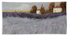 I Campi Di Lavanda Beach Sheet by Guido Borelli