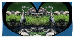 I Chose Love With A Heart Framing Blue Herons Beach Towel
