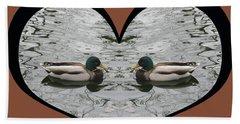 I Choose Love With A Pair Of  Mallard Ducks Framed In A Heart Beach Towel