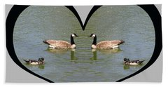 I Choose Love With A Spoonbill Duck And Geese On A Pond In A Heart Beach Towel