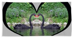 I Chose Love With Black Swans Forming A Heart Beach Towel