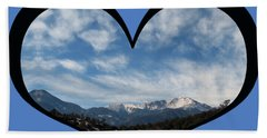 I Choose Love With Pikes Peak And Clouds In A Heart Beach Towel