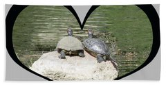 I Chose Love With Two Turtles Snuggling Beach Towel