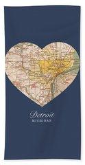 I Heart Detroit Michigan Vintage City Street Map Americana Series No 001 Beach Towel
