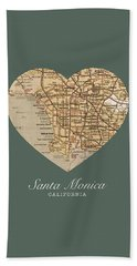 I Heart Santa Monica California Vintage City Street Map Americana Series No 020 Beach Towel