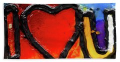 Beach Sheet featuring the painting I Heart You by Genevieve Esson
