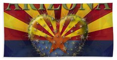 I Love Arizona Flag Beach Towel by James Larkin