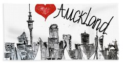Beach Towel featuring the drawing I Love Auckland  by Sladjana Lazarevic