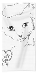 Beach Towel featuring the drawing I Love Misty by Denise Fulmer