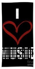 I Love Music 3 Beach Towel by Prar Kulasekara