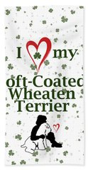 Beach Towel featuring the digital art I Love My Wheaten Terrier by Rebecca Cozart