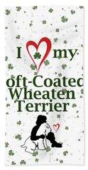 I Love My Wheaten Terrier Beach Towel