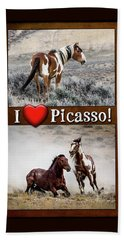 I Love Picasso Collage Beach Towel by Nadja Rider