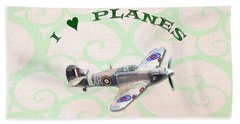 Beach Towel featuring the digital art I Love Planes - Hurricane by Paul Gulliver