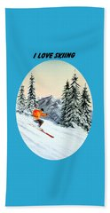 Beach Sheet featuring the painting I Love Skiing  by Bill Holkham