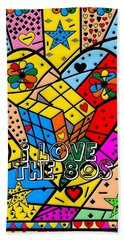Beach Towel featuring the digital art i love the 80s Popart by Nico Bielow by Nico Bielow