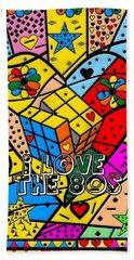 i love the 80s Popart by Nico Bielow Beach Sheet by Nico Bielow