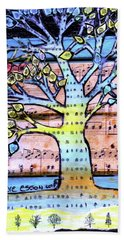 Beach Towel featuring the painting I Love Trees by Genevieve Esson