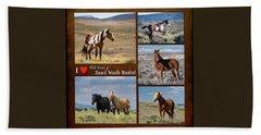 I Love Wild Horses Of Sand Wash Basin Beach Towel